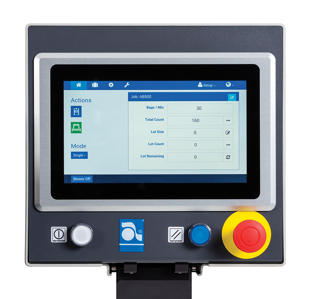 Autobag 500 AutoTouch control screen
